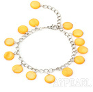 Wholesale 11mm light yellow round shell bracelet with extendable chain