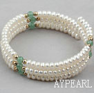 Wholesale White Freshwater Pearl and Aventurine Wrap Bangle Bracelet