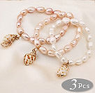 3 pcs Beautiful Multi Color Baroque Freshwater Pearl Bracelets with Shell Accessory