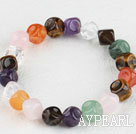 7.5 stretchy inches multi farge gemstone armbånd