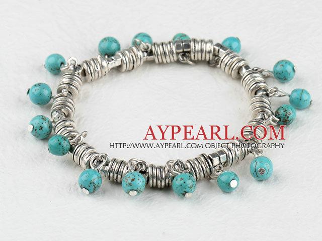 tribal smycken härliga 6mm turkos boll armband e0bef21b77630