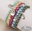 5 pcs Nice Single Strand Patato Shape Dyed Multi Color Pearl Bracelets with Heart Accessory
