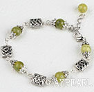 7.5 inches olive jade tibet silver charm bracelet with extendable chain