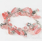 Wholesale 7.5 inches cherry quartze tibet silver charm bracelet with extendable chain