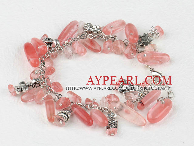 7.5 inches cherry quartze tibet silver charm bracelet with extendable chain