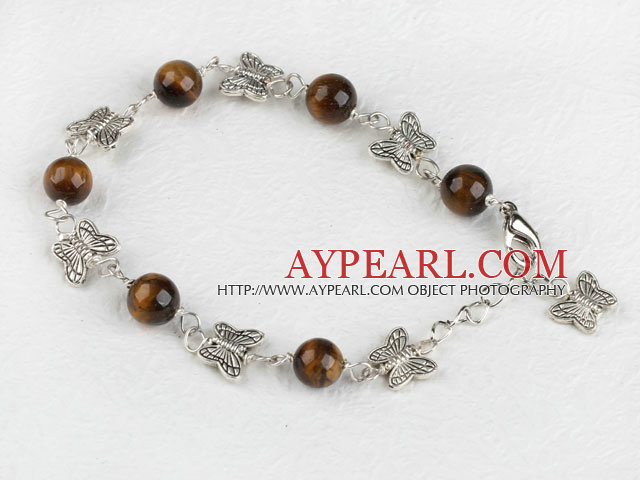 7.5 inches tiger eye butterfly charm bracelet with extendable chain