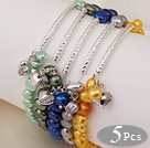 5 pcs Cute Patato Shape Multi Color Pearl Stretchy Bracelet with Tibet Silver Tube and Heart Accessory