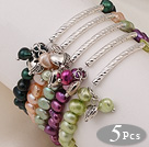 5 pcs Cute Patato Shape Multi Color Pearl Stretchy Bracelets with Tibet Silver Tube and Heart Accessory