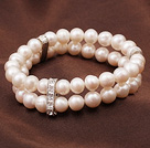 Wholesale 7.5 inches white teeth pearl and crystal bracelet