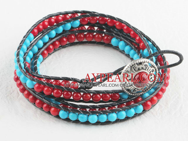 Turquoise and coral personalized wrap bracelet