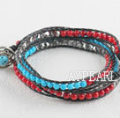 Wholesale Turquoise and coral and gray manmade crystal wrap bracelet