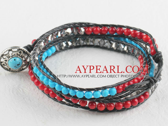 Turquoise and coral and gray manmade crystal wrap bracelet