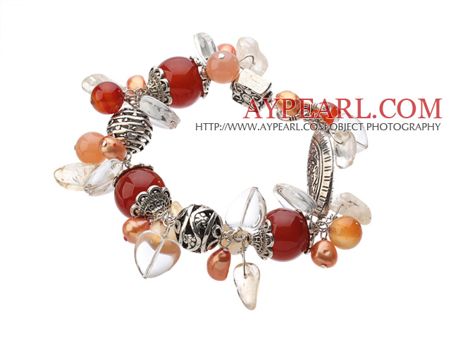 Vintage Style Heart Shape Clear Crystal Red Agate Citrine Tibet Silver Accessory Charm Bracelet With Toggle Clasp