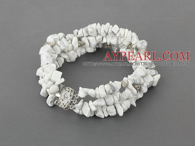 Fashion 6-8Mm 3 Strands Howlite Chips Wrap Bangle Bracelet