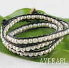 23.6 inches white fresh water pearl wrapped leather bracelet