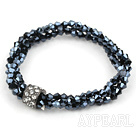 Wholesale elastic style 7.5 inches three strand crystal bracelet with rhinestone