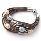 Wholesale Multi Strands 11-12mm Multi Color Freshwater Pearl Brown Leather Bracelet with Magnetic Clasp