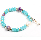 Assorted Multi Color Donut Shell and White Seashell Beads Stretch Bangle Bracelet