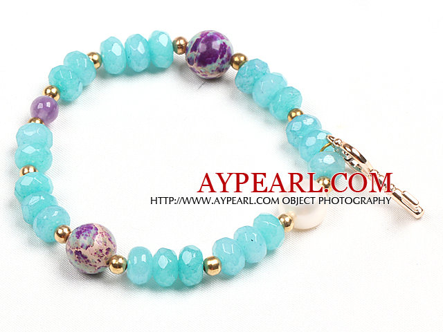 Summer Beach Fashion Blue Jade Natural White Pearl And Imperial Jasper Beads Stretch / Elastic Bracelet With Golden Key Charm