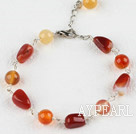 Wholesale 7.5 inches original color agate bracelet with extendable chain