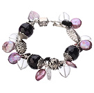 Vintage Style Heart Shape Clear Crystal Purple Agate Button Pearl Tibet Silver Accessory Charm Bracelet With Toggle Clasp
