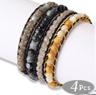 Fashion Style 4pcs Single Strand Natural Round Gemstsone Beaded Leather Bracelet