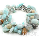 Assorted Amazon Stone Bracelet with Bold Style Metal Chain