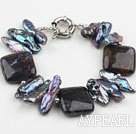 Wholesale Biwa Pearl and Dragon Blood Stone Bracelet with Moonlight Clasp