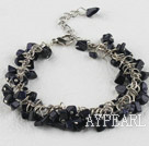 Wholesale 6-7mm blue sandstone bracelet with extendable chain