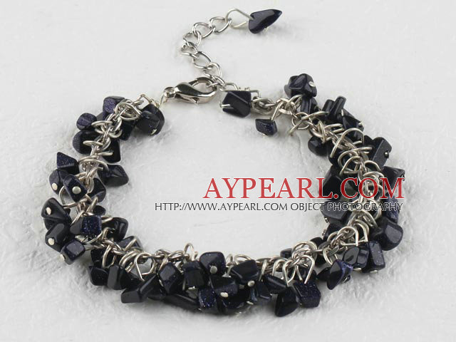 6-7mm blue sandstone bracelet with extendable chain