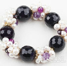Wholesale Assorted White Freshwater Pearl and Big Purple Agate Stretch Bracelet