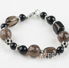 Wholesale Assorted smoky quartz and black agate bracelet with lobster clasp