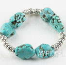Wholesale Turquoise and small metal loop elastic bracelet