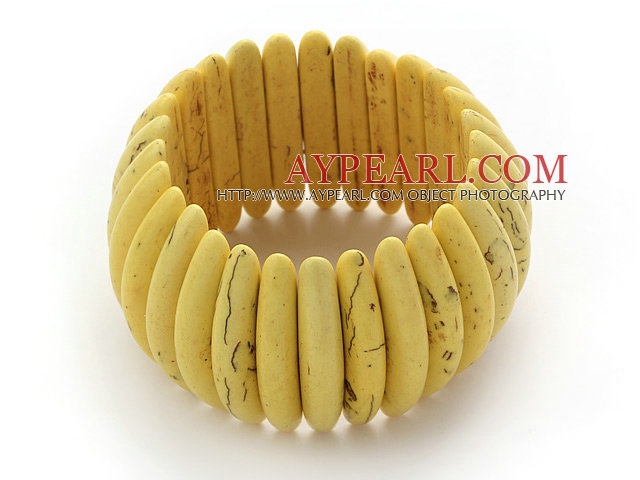 Classic Design Long Spike Shape Yellow Turquoise Stretch Bangle Bracelet