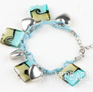 Square shape blue colored glaze and heart shape accessories bracelet