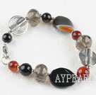 Wholesale Assorted smoky quartz and agate bracelet with lobster clasp