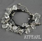 Wholesale Multi strand fillet white crytal chip bracelet with adjustable chain