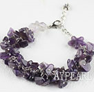 Single strand amethyst chip bracelet with adjustable chain