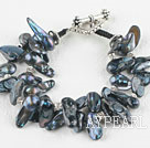 Wholesale Two strand black teeth shape black pearl bracelet with toggle clasp