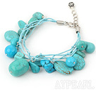 Wholesale blue turquoise bracelet with lobster clasp