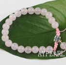 Single strand round rose quartz weaved bracelet