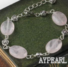 Cute style rectangle shape rose quartz bracelet with adjustable chain