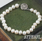 Wholesale Lovely 6-7mm White Freshwater Pearl Bridal Wedding Bracelet