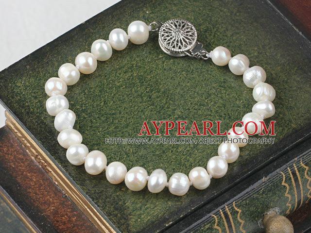 Lovely 6-7mm White Freshwater Pearl Bridal Wedding Bracelet
