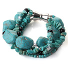 Wholesale Multi strand assorted multi shape turquoise and crystak bracelet