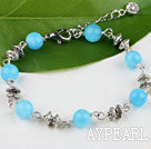 Wholesale Cute style round kyanite bracelet with lobster clasp
