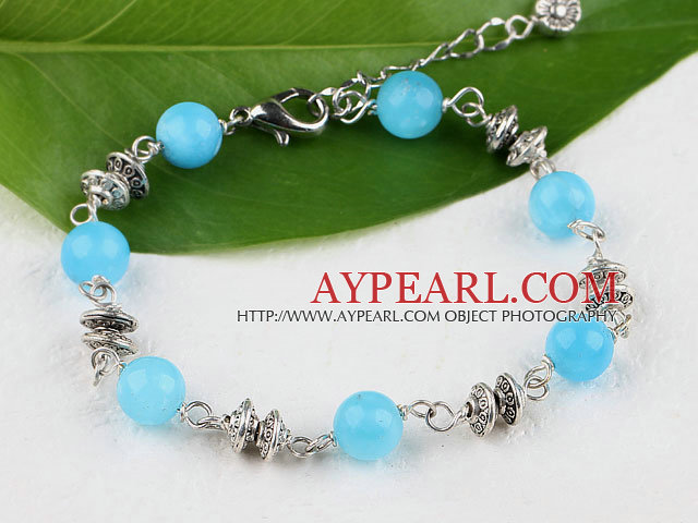 Cute style round kyanite bracelet with lobster clasp