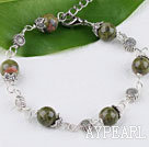 Wholesale Cute style unakite stone bracelet with lobster clasp