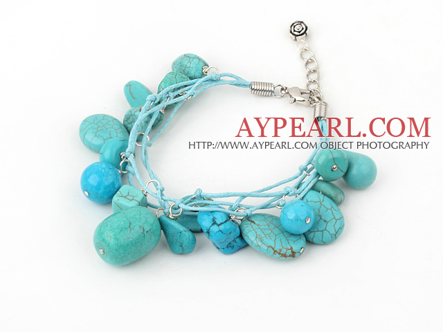 blue turquoise bracelet with lobster clasp