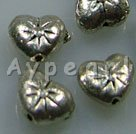 Alloy beads, 8mm heart.Sold per pkg of 500.